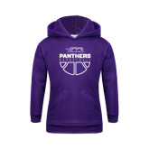 Youth Purple Fleece Hoodie-Panthers Basketball Stacked