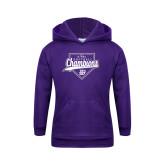 Youth Purple Fleece Hoodie-GMAC Softball Champions 2017 Script