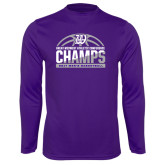 Syntrel Performance Purple Longsleeve Shirt-Great Midwest Athletic Conference Champs - 2017 Mens Basketball Half Ball