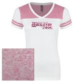 Ladies White/Bright Pink Juniors Varsity V Neck Tee-Primary Logo Foil