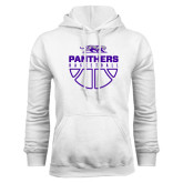 White Fleece Hoodie-Panthers Basketball Stacked