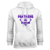 White Fleece Hoodie-Panthers Baseball Diamond