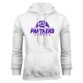 White Fleece Hoodie-Panthers Soccer Half Ball