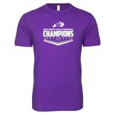 Next Level SoftStyle Purple T Shirt-GMAC Softball Champions 2017 Plate