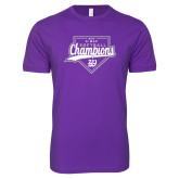 Next Level SoftStyle Purple T Shirt-GMAC Softball Champions 2017 Script