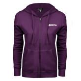 ENZA Ladies Purple Fleece Full Zip Hoodie-Kentucky Wesleyan