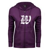 ENZA Ladies Purple Fleece Full Zip Hoodie-W