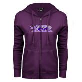 ENZA Ladies Purple Fleece Full Zip Hoodie-Panther