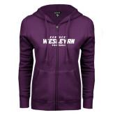 ENZA Ladies Purple Fleece Full Zip Hoodie-Football