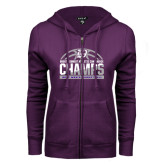 ENZA Ladies Purple Fleece Full Zip Hoodie-Great Midwest Athletic Conference Champs - 2017 Mens Basketball Half Ball