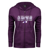 ENZA Ladies Purple Fleece Full Zip Hoodie-Great Midwest Athletic Conference Champions - Mens Basketball 2017 Stencil