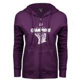 ENZA Ladies Purple Fleece Full Zip Hoodie-G-MAC Champions - Mens Basketball 2017 Net