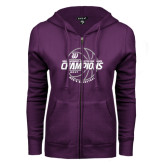 ENZA Ladies Purple Fleece Full Zip Hoodie-Great Midwest Athletic Conference Champions - 2017 Mens Basketball Lined Ball