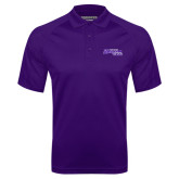 Purple Textured Saddle Shoulder Polo-Primary Logo