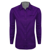 Ladies Purple Twill Button Down Long Sleeve-Kentucky Wesleyan