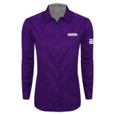 Ladies Purple Twill Button Down Long Sleeve-2017 G-MAC Champions Mens Basketball