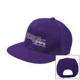 Purple Twill Flat Bill Snapback Hat-Primary Logo