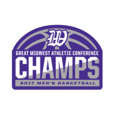 Small Magnet-Great Midwest Athletic Conference Champs - 2017 Mens Basketball Half Ball, 6 inches wide