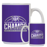 Full Color White Mug 15oz-Great Midwest Athletic Conference Champs - 2017 Mens Basketball Half Ball