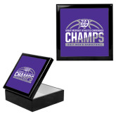 Ebony Black Accessory Box With 6 x 6 Tile-Great Midwest Athletic Conference Champs - 2017 Mens Basketball Half Ball