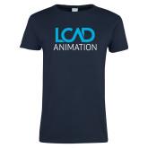 Ladies Navy T Shirt-Animation
