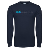 Navy Long Sleeve T Shirt-Centered Lock Up