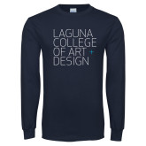 Navy Long Sleeve T Shirt-Wordmark Stacked