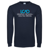 Navy Long Sleeve T Shirt-Graphic Design + Digital Media