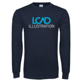 Navy Long Sleeve T Shirt-Illustration