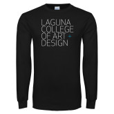 Black Long Sleeve T Shirt-Wordmark Stacked