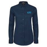 Ladies Navy Twill Button Down Long Sleeve-Full Mark