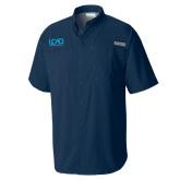 Columbia Tamiami Performance Navy Short Sleeve Shirt-Full Mark