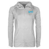 Ladies Sport Wick Stretch Full Zip White Jacket-Primary Mark