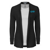 Ladies Black Open Front Cardigan-Primary Mark