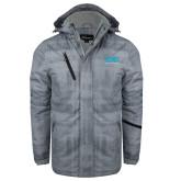 Grey Brushstroke Print Insulated Jacket-Full Mark