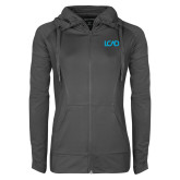 Ladies Sport Wick Stretch Full Zip Charcoal Jacket-Primary Mark