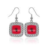 Crystal Studded Square Pendant Silver Dangle Earrings-Foresters