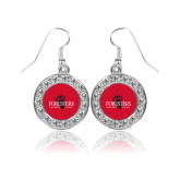 Crystal Studded Round Pendant Silver Dangle Earrings-Foresters