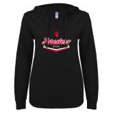 ENZA Ladies Black V Notch Raw Edge Fleece Hoodie-Softball Plate