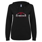 ENZA Ladies Black V Notch Raw Edge Fleece Hoodie-Football Arch