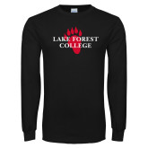 Black Long Sleeve T Shirt-Lake Forest College w/ Paw