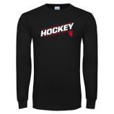 Black Long Sleeve T Shirt-Hockey Slashes