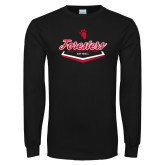 Black Long Sleeve T Shirt-Softball Plate