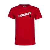 Youth Red T Shirt-Hockey Slashes