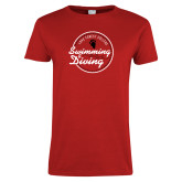 Ladies Red T Shirt-Volleyball Abstract
