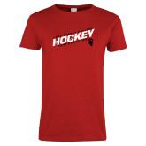 Ladies Red T Shirt-Hockey Slashes