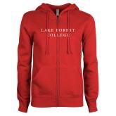 ENZA Ladies Red Fleece Full Zip Hoodie-Wordmark