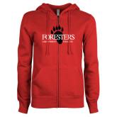 ENZA Ladies Red Fleece Full Zip Hoodie-Foresters