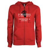 ENZA Ladies Red Fleece Full Zip Hoodie-Swimming and Diving