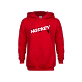 Youth Red Fleece Hoodie-Hockey Slashes